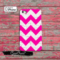 Pink and White Chevron Pattern White Painted Wood Cute Cool Custom iPhone 4 and 4s Case and Custom iPhone 5 and 5s and 5c Case