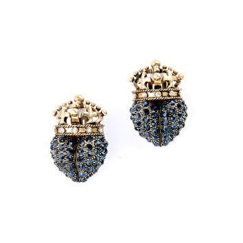Clip On Earrings For Women Fashion Accessories No Pierced Gold Plated Blue Crystal Rhinestone Statement Clip Earrings Jewelry