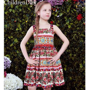 Girls Sleeveless Dress with Rose Pattern 2017 Shoulderless Girls Costume for Kids Clothes Toddler Party Dresses Vestido Infantil