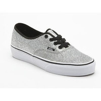 VANS AUTHENTIC  Womens Shoes (NEW w/ FREE SHIPPING) Glitter Silver - True White