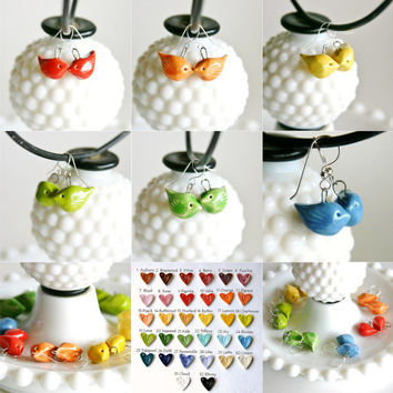 Love Bird Earrings - Choose Your Color - 32 Choices - Match Wedding Colors