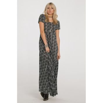 Black Unlined Buttons Down Back Maxi Dress