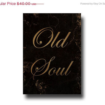 Mini Canvas, Old Soul Sign, Rustic Typography, Small Distressed Antique Style Wall Art, Black & Copper Home Decor