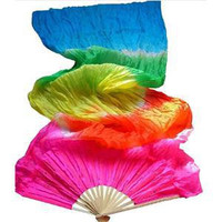 1Pc New Colorful Hand Made Women Belly Dancing Fans Tools Good Quality Simulation Silk Bamboo Long Veils Fans for Women