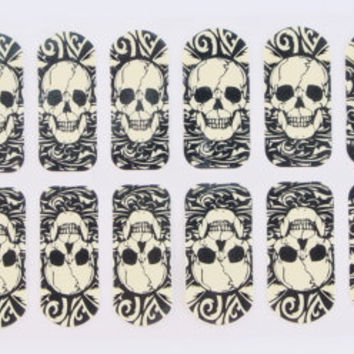 Goth Nail art, 1 pack of skull nail sticker, skulls nail art,