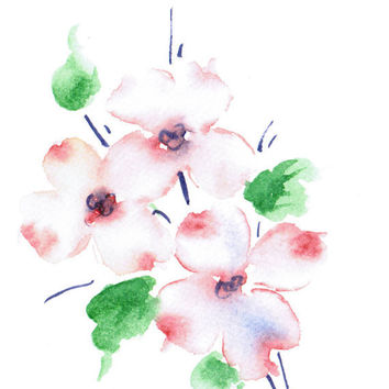 Hand painted Greeting Card Notecard Dogwood Pink Weddings Thankyou notes Watercolor Art Any occasion Women Teens Blank