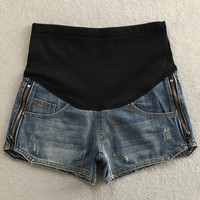 Elastic Patchwork Side Zipper Maternity Shorts