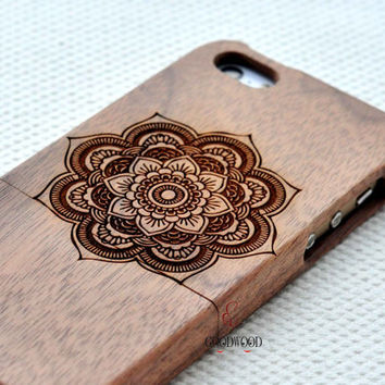 Mandala Wood phone 6 6 plus case,wooden iPhone 6 6 plus case cover,flower  gift Eco-friendly