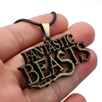 JM 12 Pcs/lot Hot Movie Jewelry Fantastic Beasts And Where To Find Them Letter Pendant Leather Necklace Women colar feminino
