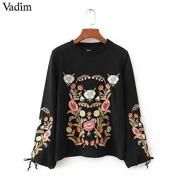 Women Embroidery floral pattern black sweatshirts long wide sleeve bow tie warm winter pullover vintage loose casual tops ZC076