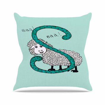"Rosie Brown ""Sis for Sheep Blue"" Teal Throw Pillow"