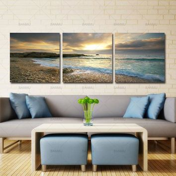 Wall Art Pictures canvas painting wall art poster home decor 5 Piece prints Sunset Seascape Coco Beach on canvas Modern no frame