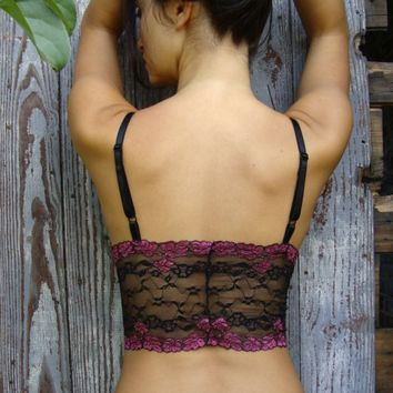 $36.00 Black and Pink 'Sassafras' Lace Camisole Limited by OnTheInside