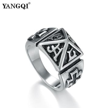 YANGQI Stainless Steel Knight Templar Ring for Men Lucky Cross Totem Jewelry for Male Ancient Egypt Pyramid Shape Biker Rings