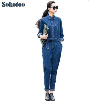 DKLW8 Sokotoo Women's full sleeve casual loose denim jumpsuits Lady's fashion blue overalls with sashes Free shipping