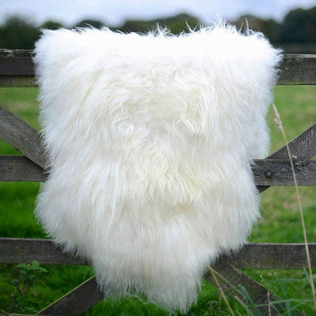 Amazing extra large genuine - soft thick wool sheepskin rug - white-ivory 4.5 x 2.5