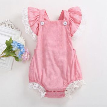 Newborn Toddler Baby Girls Lace Ruffle Sleeve Romper Summer Little Dots Pink Baby Romper Jumpsuit Outfit
