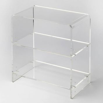 Crystal Clear Modern Rectangular Bookcase Clear