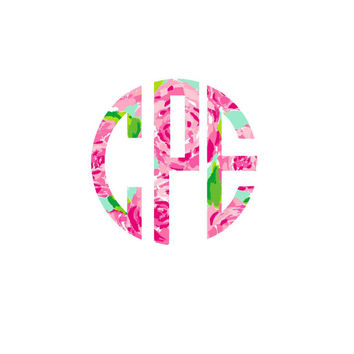 Lilly Pulitzer Monogram Decal Sale  , Lilly Inspired Decal Monogram Circle Font  , Lilly car decal, Lilly Pulitzer Yeti decal Custom Decal