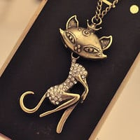 Necklace Cat Sexy Girl Crystal Rhinestone Retro Bronze Tone Women Chain Pendant Long Necklace