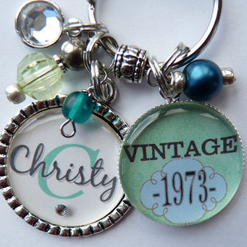 Personalized vintage 40th birthday keychain name mother sister aunt daughter 40th birthday milestone birthday tiffany blue vintage 1973 1963