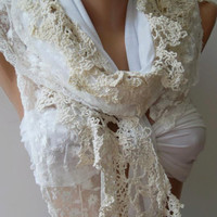 Pearl Color - Elegance Shawl / Scarf with Lace Edge.