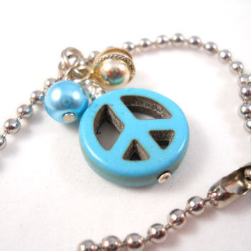 Anklet Bracelet Teen Jewelry Tween Jewelry Peace Sign Jingle Bell Blue and Silver