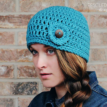 Womens Hat - Aqua - cozy - winter hat - button hat - button - crochet hat - beanie - fall hat