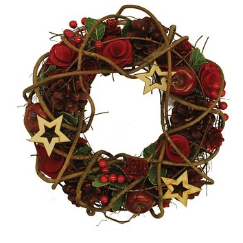 """10"""" Country Rustic Artificial Floral and Berry Wreath with Stars - Unlit"""