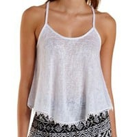 Slub & Crochet Flyaway Crop Top by Charlotte Russe