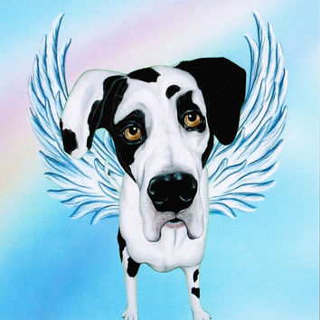 Great Dane Angel - Harlequin Great Dane Art - Guardian Angels - Dog Angel - Dog Breeds - Pet Memorial - Rainbow Bridge - Weeze Mace - 8x10