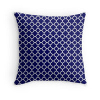 White and Navy Blue Quatrefoil Pattern by TigerLynx