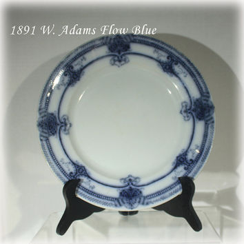 Antique 1891 Flow Blue Plate W Adams and Company Athens