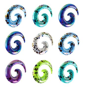 1pair  Acrylic Ear Tapers Spiral Ear Stretching Piercing Body Jewelry Mix Lots Fake Ear Expander Plug Tunnel Kit Free Ship
