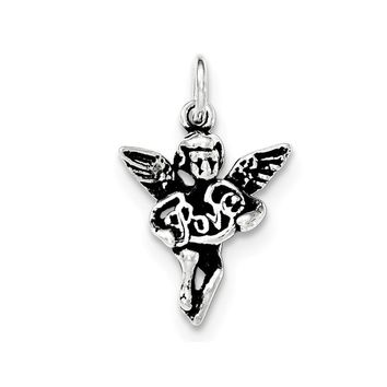 Sterling Silver Antiqued and Textured Angel Love Pendant