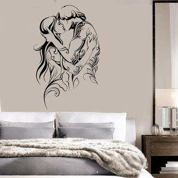 Vinyl Wall Decal Loving Couple Bedroom Art Love Romantic Stickers Unique Gift (ig4607)
