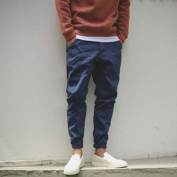 Men's Fashion Design Autumn Casual Blue Pants [7929376515]