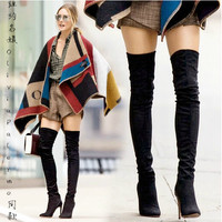 GENSHUO Woman Black Suede Over The Knee Boots Winter Warm Boots Women Sexy Stiletto Slim Fit Stretch Booties Botas Mujer