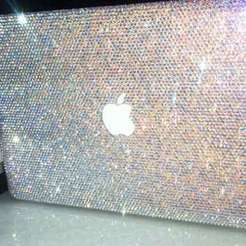 10% off Free shipping Laptop Case Rhinestone macbook case Handmade Crystal AB Bling Case holographic Blue Silver glitter  gift  AURORA BOREA