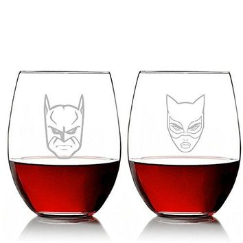 Abby Smith - Bat Man and Cat Woman Stemless 15 oz Wine Glass Set