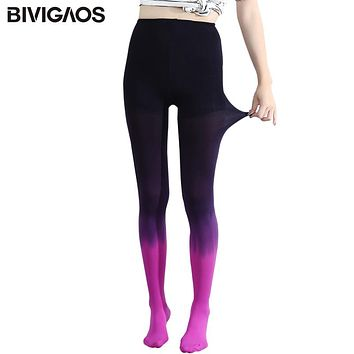 BIVIGAOS Womens Seasons Kawaii 120D Velvet Gradient Opaque Seamless Pantyhose Stockings Candy Color Tights Medias Tayt For Women