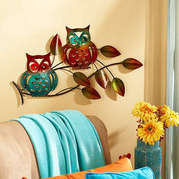 Wall Sculpture Metal Owls Branches Cutout Rustic Blue Green