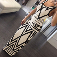 Print Slim Stylish Prom Dress One Piece Dress [11545529999]
