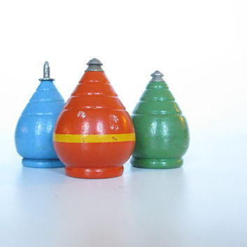 Wooden Toy Top Collection, Instant Collection, Blue Top, Green Top, Orange Top, Folk Art Toys
