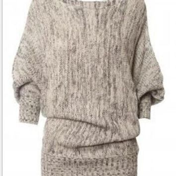 The bat sleeve loose knitting inclined shoulder pullovers