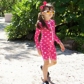 New Pink Swimsuit Long Sleeves One Piece Suit Swimming Suits Brand Beach Wear for Girl Boy for Children Blue Swimwear girls