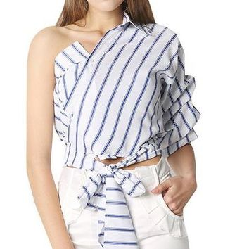 Striped Women Blouses One Shoulder V-neck Half Puff Sleeve Casual Shirts Women Bow Ruffle Tie Waist Slim Tops