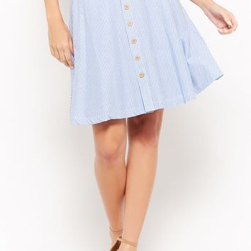 Striped Button-Front Skirt