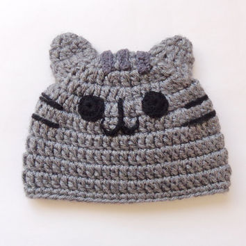 Pusheen Cat Hat / Beanie - Premie, Newborn, Child, Teen, Adult - Halloween / Cosplay Wig/ Baby Shower Gift