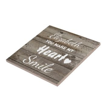 Rustic wood coaster ceramic tile